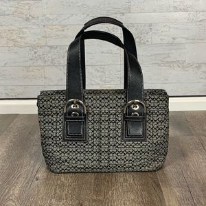 Coach canvas & leather monogram tote bag grey